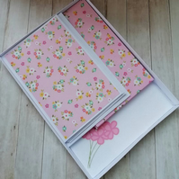 Handmade writing set , stationery gift , pretty pink  floral writing set.