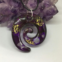 Purple and gold swirl large statement pendant and black cord chain.