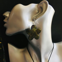 Dark shimmer flower earrings on sterling silver ear wires