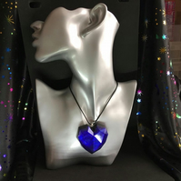 Purple iridescent large heart statement resin and ink necklace.