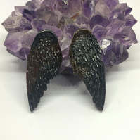 Black and dark red angel wing statement earrings on sterling silver.