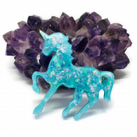 Turquoise blue unicorn sparkly statement brooch.
