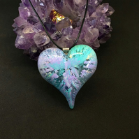 Puffy heart pastel green and lilac large statement heart necklace.