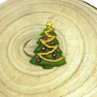Christmas tree brooch with roll over style clasp.