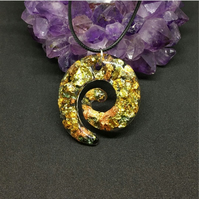 Gold, copper and green metallic swirl large pendant and black cord chain.