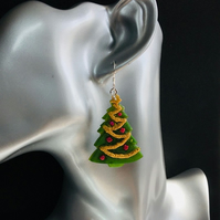 Christmas tree earrings on sterling silver ear wires.
