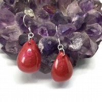 Ruby red chunky teardrop dangle earrings on sterling silver.