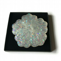 White flower sparkly coasters choose set of 2 or 4 coasters.
