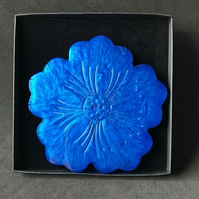 Royal blue flower metallic shimmer coasters choose set of 2 or 4 coasters.
