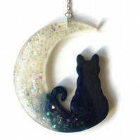 Cat and moon sparkly hanging decoration.
