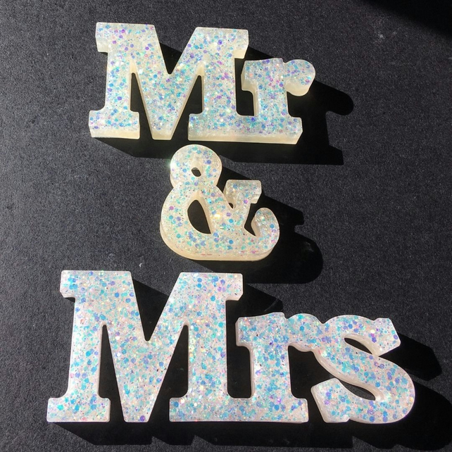 Mr & Mrs glitter free standing word sign, choice of titles.