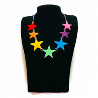 Rainbow star necklace with silver plated chain.