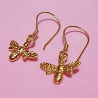 Bee hook earrings yellow gold plated sterling silver bees bumble honey mancheste