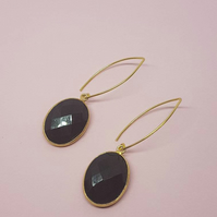 Black oval quartz stone earrings oval gold hook silver 925 black onyx