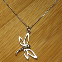 dragon fly pendant sterling silver necklace
