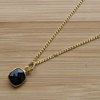 Onyx cushion cut facetted pendant sterling silver gold plating gemstone