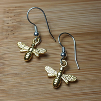 Bee hook earrings gold Silver bees bumble honey manchester jewellery