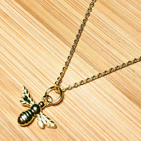 Manchester Bee Mini Pendant Sterling Silver Necklace Gold plated 925