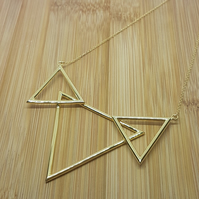 Three Peaks Triangle pendant sterling 18ct gold overlay geometric necklace