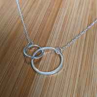 Circle pendant two linked round necklace pendant silver 925 loop
