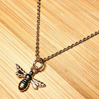 Manchester Bee Mini Pendant Sterling Silver Necklace Rose Gold plated 925
