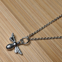 Manchester Bee Mini Pendant Sterling Silver Necklace 925
