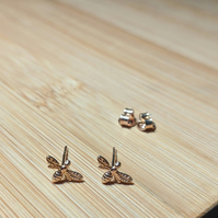 Bee stud earrings rose gold sterling silver mini Manchester