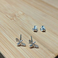 Bee stud earrings Sterling silver mini Manchester
