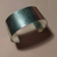 Wide cuff bracelet sterling silver textured bangle 925