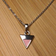 Triangle pendant pink enamel sterling silver necklace