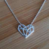 Silver geometric heart pendant necklace origami sterling 925