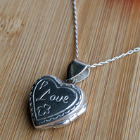 Heart locket sterling silver engraved love pendant necklace Valentine's day jewe