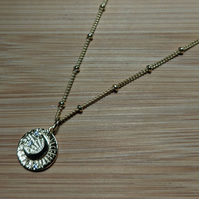 """Gold Crescent Moon Disc Pendant on 18"""" bead chain"""