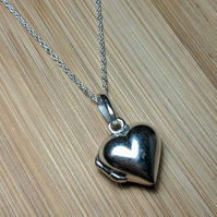 Heart locket sterling silver pendant necklace Valentine's day jewellery