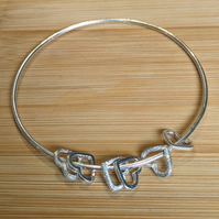 Sterling silver ladies bangle heart charms valentines day gift