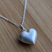 Heart pendant silver 3d necklace valentines day satin finish