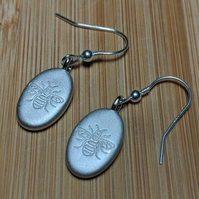 Manchester bee earrings sterling silver charm pebble hooks engraved