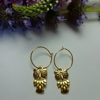 Dainty gold hoops, small gold hoop earrings, mini hoop earrings, owl earrings