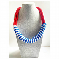 Blue Nautical Knotted Rope Statement Necklace, Chunky Statement crochet necklace