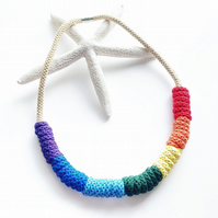 Rainbow cotton necklace, Rainbow cotton rope necklace (Free Delivery)