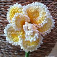 Yellow & White Beaded Crochet Rose