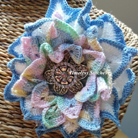 Blue tipped Crochet Flower Brooch