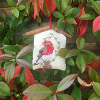 Red Robin cross stitched Christmas tree ornament Hand embroidered robin decorati