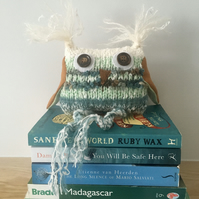 White and green owl decor - Hand knitted owl - Owl ornament Owls Book shelf dcor