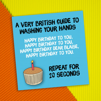 Lockdown birthday card: British guide to washing your hands (personalised)