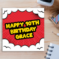 Personalised birthday card: Comic book - 1st-2nd-3rd-4th-5th-6th-Any age