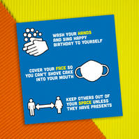 Lockdown birthday card: Hands, face, space