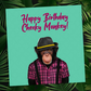 Cheeky monkey birthday card (green) - Animalyser