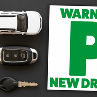 Passing driving test card: Warning - new driver