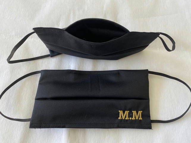 Personalised Embroidered initials Face mask cover with filter pocket. Superior q
